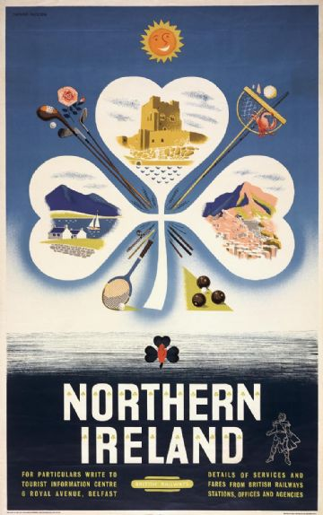 Northern Ireland Landmarks. Vintage BR Irish Shamrock Travel poster